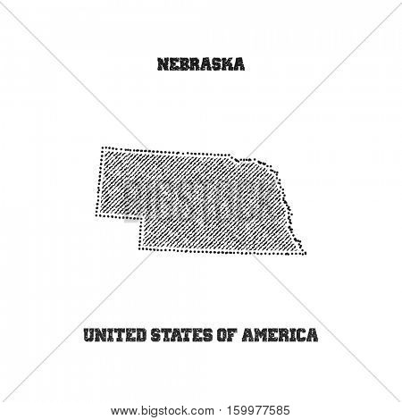 Label with map of nebraska. Vector illustration.