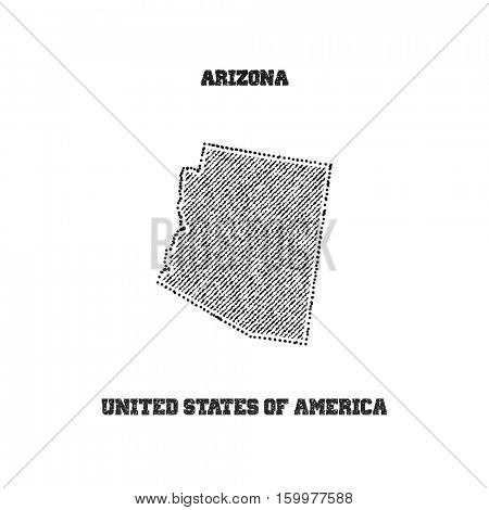 Label with map of arizona. Vector illustration.