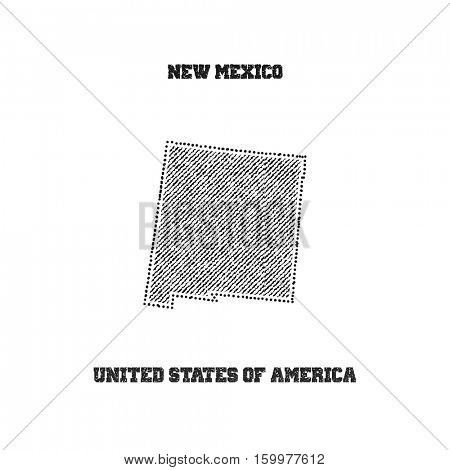 Label with map of new mexico. Vector illustration.