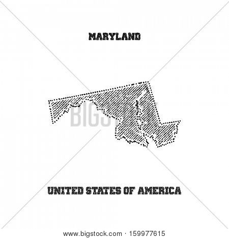 Label with map of maryland. Vector illustration.