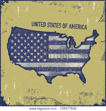 USA map grunge style