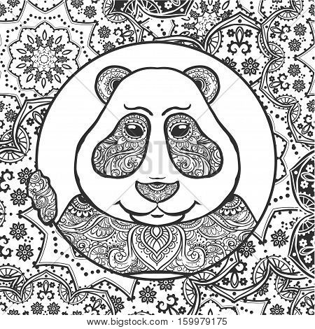 Vector Illustration Panda. Print for clothes, cards, picture banner for websites. Ethnic ornaments mandala. Adult coloring book