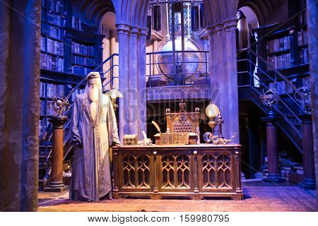 Leavesden, London, UK - 1 March 2016: Interior of Dumbledore office and Professor's costume. Decoration Warner Brothers Studio for Harry Potter film