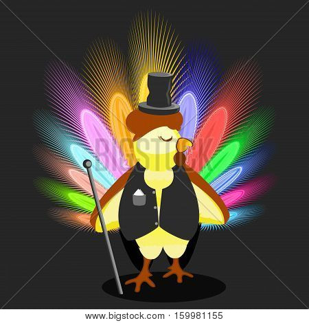 cockerel in a black dress coat and a hat the cylinder with a cane. a symbol Christmas rooster chicken with a big smart tail to spend for design, the press, t-shirts. vector illustration.