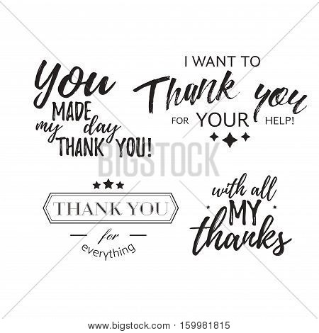 Set of badges with thank you graphics and design elements. Vector thankful labels and logo for gratitude, branding, advertisement. Template of logo and badges with thank you design