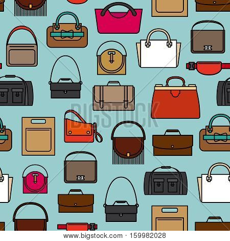 Colorful pattern with different style bags and purses on blue background. Vector illustration