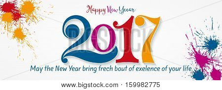 Happy new year 2017. Year 2017 vector design element. New Year vector ilustration for your web design and print banner template social networks cover.