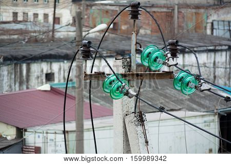Electric wire and insulator. Glass insulators polarity protection.