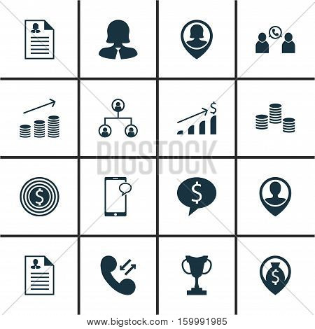 Set Of 16 Hr Icons. Can Be Used For Web, Mobile, UI And Infographic Design. Includes Elements Such As Increase, Organisation, Cup And More.