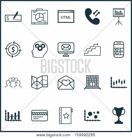 Set Of 20 Universal Editable Icons. Can Be Used For Web, Mobile And App Design. Includes Elements Such As Greeting Email, Presentation, Cooperation And More.