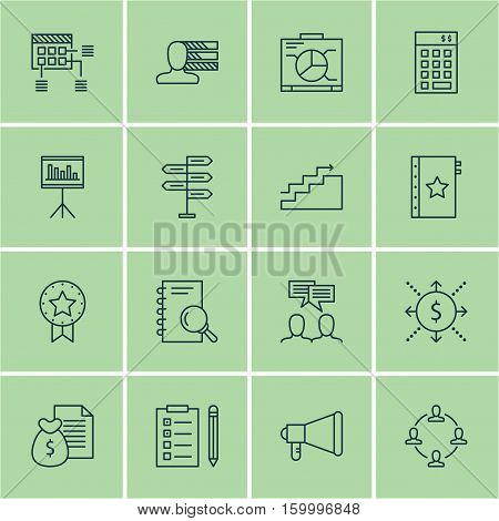 Set Of 16 Project Management Icons. Can Be Used For Web, Mobile, UI And Infographic Design. Includes Elements Such As Goal, Chart, Statistics And More.