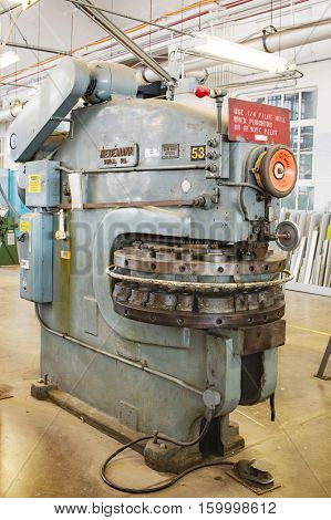 DAYTON, OHIO, USA - NOVEMBER 18, 2016: A Wiedemann sheet metal turret punch in the Restoration Hanger of the National Museum USAF is used in metalwork to restore aircraft & related items.
