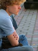 stock photo of teenage boys  - thoughtful young man - JPG