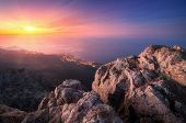 Amazing View From The Mountain Peak On Rocks, City Lights poster