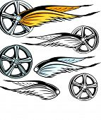 Vector illustration of a rim with fiery wings.  The vectors are VERY CLEAN and ready for vinyl cutti