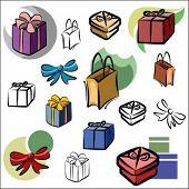 Постер, плакат: Набор векторных иконок подарков в цвете и черно белых визуализации