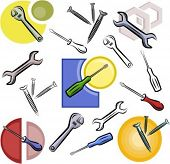 A set of screwdriver, wrench, nail and nut vector icons in color, and black and white renderings.