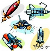 A set of 5 vector illustrations of space shuttles.