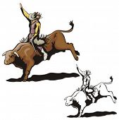 stock photo of bareback  - Illustration of a rodeo cowgirl riding a bull - JPG