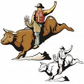 image of bareback  - Illustration of a rodeo cowbow riding a bull - JPG
