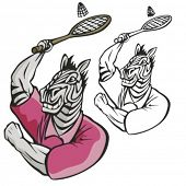 Zebra Badminton Mascot. Great for t-shirt designs, school mascot logo and any other design work. Rea