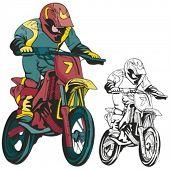 Постер, плакат: Мотокросс гонщик Векторные иллюстрации