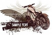 image of street-rod  - Vector grunge background with a hot rod motorcycle - JPG