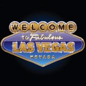 image of las vegas casino  - Diamond and gold Las vegas sign on blue background - JPG