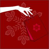 image of thrift store  - hand holding christmas shopping bag - JPG