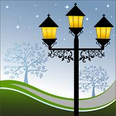stock photo of light-pole  - Ornate lamppost at night with landscape - JPG