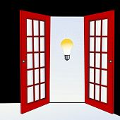 image of open door  - open door with light bulb  - JPG