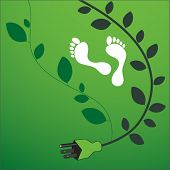 foto of stewardship  - environmental footprint with powercord and leaves - JPG