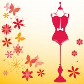foto of hourglass figure  - bodyform with flowers and butterflies - JPG
