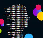 technologic male profile (made of circles