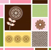 Geometric patterns with organic flowers