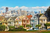 San Francisco, Usa - October 29: Famous Painted Ladies Of San Francisco, California, Usa On October poster