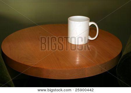 mug of black coffee in a coffee shop