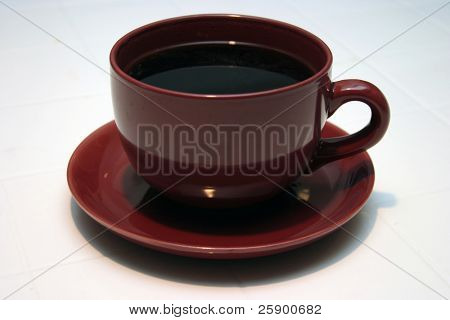 Large Cup and Saucer of fresh brewed black coffee