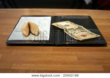 paying bill at a chineese restaurant