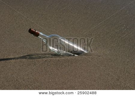 message in a bottle in the sand