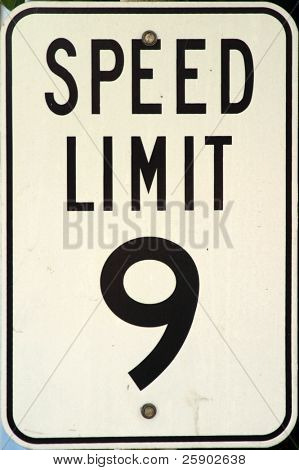 speed limit 9 mph sign