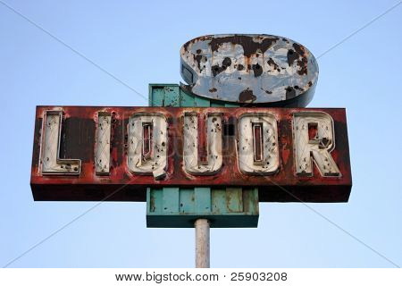 "broken yet beautiful old rusty ""liquor store"" neon sign"