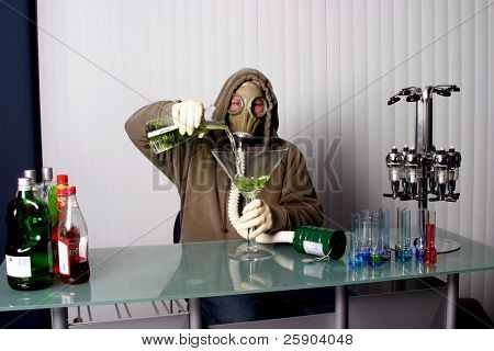 "bartender in a gas mask, name your poison concept ""gas masked"" bartender fixes You the viewer up a Giant Apple Martini or is it"