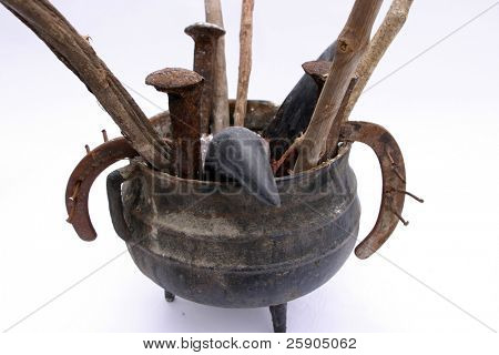 "Genuine Santeria aka ""La Regla Lucumi"" and ""Rule of Osha"" ""cast iron"" Spell pot found in a Cemetary"
