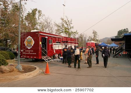 10-25-2007 Santiago Canyon wild fires staging area with fire trucks, police, and everyone involved series