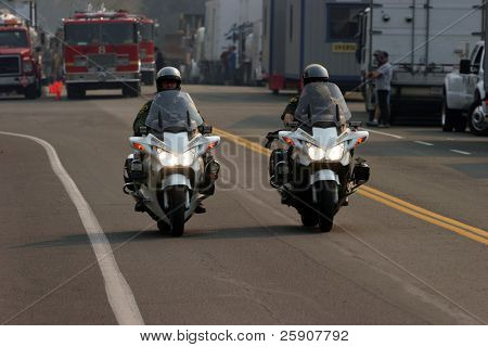 police on motorcycles at the Santiago Canyon Staging area