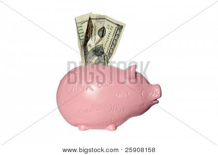 isolated pink piggy bank with one hundred dollars sticking out of the top