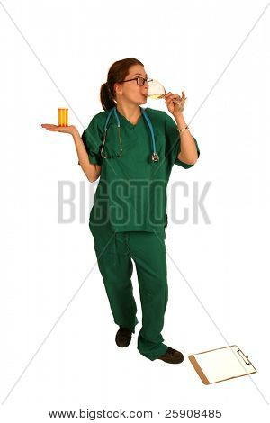 a nice nurse in green scrubs holds a glass of white wine and a bottle of pills showing she is the smart one to ask for a prescription