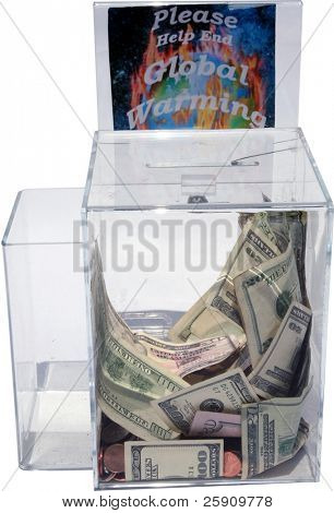 Please Help Stop Global Warming, lucite collection box full of Cash and Spare Change