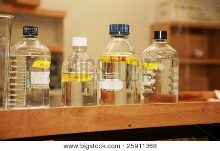 glass wear full of water and liquids in a science laboratory